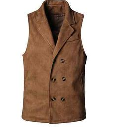 82761b156d7 Fashion Men plush leather Suede leisure lapel double-breasted Stylish men  vest Double Breasted Vest