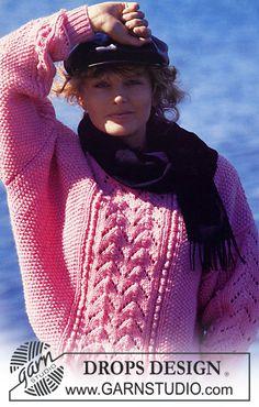 "DROPS trui van ""Alaska"" met kantpatroon middenvoor. Maat S – L. ~ DROPS Design"
