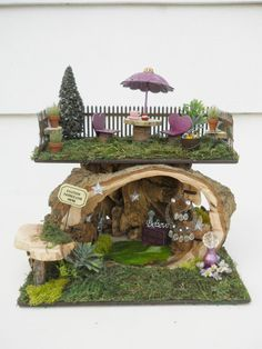 OOAK Fairy Two Story House, Faerie, Woodland Hideaway, eBay... Jan's Flowers and Frills