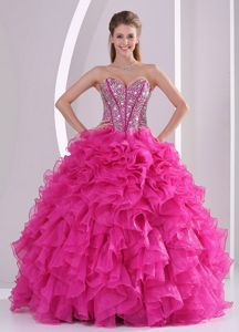 Designer Full Beaded Corset Quinceanera Dress with Fushcia Ruffles -$179.89