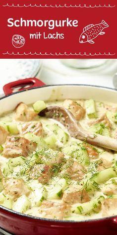 Herrlich frisch: Schmorgurke mit Lachs und Dill ergeben ein köstliches Pfannengericht. Als Beilage passen Kartoffeln oder Reis perfekt dazu.