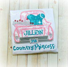 Country Princess Applique Shirt Girl Truck shirt Truck