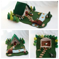 Fairytale Cottage with River Playscape Play Mat felt pretend open-ended storytelling fantasy storybook woodland imagination forest toy child