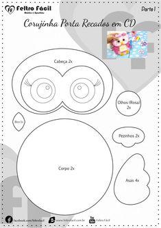Feltro Fácil - Moldes e Apostilas Felt Crafts Diy, Owl Crafts, Christmas Coloring Sheets, Bear Felt, Felt Finger Puppets, Owl Templates, Needle Felted, Plush Pattern, Owl Patterns