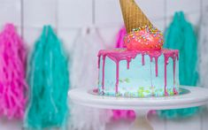 Download wallpapers Happy Birthday, holiday, Birthday cake, sweets, blue cake