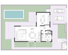 estudio3 Arquitectos | casa Pozuelo IV Narrow House Plans, Modern House Floor Plans, Contemporary House Plans, Luxury House Plans, Small House Plans, Small Villa, Villa Plan, Architectural Floor Plans, Prefabricated Houses