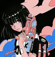 Art Anime Fille, Anime Art Girl, Anime Guys, Cartoon Kunst, Cartoon Art, Aesthetic Art, Aesthetic Anime, Aesthetic Vintage, Sweet Magic
