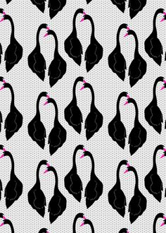 Black Swans Pattern Art Print by Georgiana Paraschiv - X-Small Motifs Textiles, Textile Patterns, Textile Prints, Art Prints, Pattern Texture, Surface Pattern Design, Pattern Art, Swans, Motif Jungle