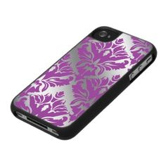 Damask iPhone 4 Cover Purple Silver by The Fashion Cafe