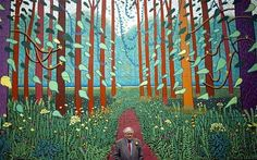 David Hockney standing in front of his work: The Arrival of Spring in Woldgate, East Yorkshire, 2012 David Hockney Landscapes, David Hockney Artist, David Hockney Ipad, David Hockney Paintings, Artist Painting, Painting & Drawing, Pop Art Movement, Arte Pop, Paintings I Love