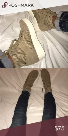 J/slides sneakers Brand new never worn j/slides tan sneakers. Mesh like material and has a thick sole, super cute and stylish shoes! J slides Shoes Sneakers