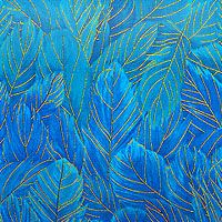 'Bluebird Fabric Collection by Chong-A Hwang for Timeless Treasures - Ombre coloration, fading from dark to light feathers in Azure, Teal, Bahama Blue, Sapphire & Cobalt Blue, Bright Aqua, Turquoise, Gold Metallic
