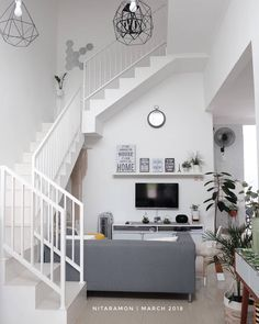51 Trendy Home Design Decoration Stairs Home Room Design, Small House Design, Home Design Plans, Living Room Designs, Cute Small Houses, Small Apartment Decorating, Trendy Home, Minimalist Home, House Rooms