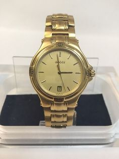 f1e65bae2cd Details about Gucci 9240 Goldtone Stainless Steel Quarts Date Round Vintage  Men s Watch