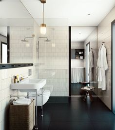 large square black tiles bathroom - Google Search