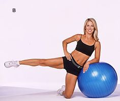 Tone your thighs with this easy move! You can use a chair to lean on if you don't have an exercise ball.