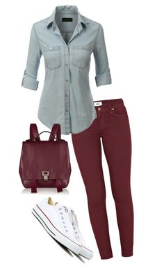 """""""Untitled #105"""" by maca-r-94 ❤ liked on Polyvore featuring Paige Denim, LE3NO, Converse and Proenza Schouler"""