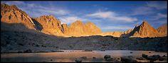 Palissades at sunset, Dusy Basin. Kings Canyon National Park (Panoramic color)