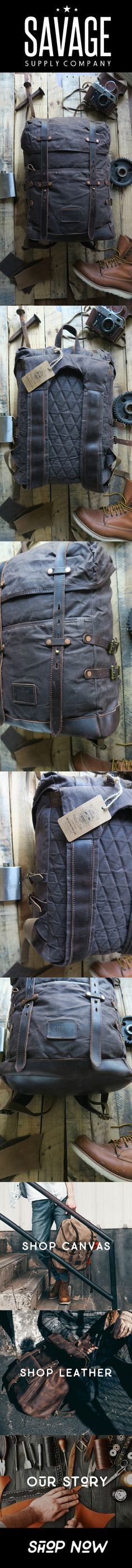 Waxed canvas adventure hiking/camping backpack by Savage Supply Co.