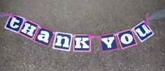 """Pink, Navy and White """"Thank You"""" Banner for Wedding Photos made by Banana Lala Party Designs & More and sold on Etsy"""