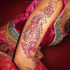 Furbish pink color mehndi full arm mehndi design