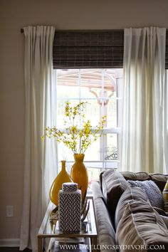 New living room windows treatments behind couch Ideas Window Treatments Living Room, Living Room Windows, Living Room Colors, Living Room Grey, Living Room Modern, Living Room Decor, Living Rooms, Behind Couch, Bamboo Shades