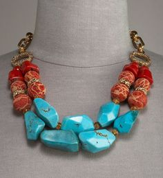 Stephen Dweck Two-Strand Necklace Turqoise B ronze and Coral