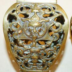 Victorian PAIR Pierced BRASS Horned DEVIL SATAN Reticulated URNS VASES Occult