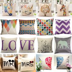 New Cotton Blend Owl Linen Pillow Case Sofa Waist Throw Cushion Cover Home Decor #Unbranded #Fashion