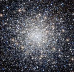 Dieser Schnappschuss von Hubble zeigt den schillernden Kugelsternhaufen Messier 92. Er ist einer der hellsten Sternhaufen der Milchstraße.