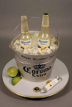 Corona Beer Bottle Bucket Birthday Cake