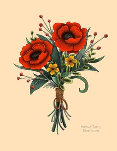 Poppy Bouquet 8x10 Print From Hannah Tuohy Illustration