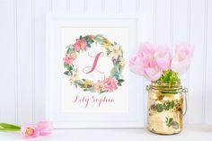DIGITAL Watercolor Flower Monogram Art Girl Nursery Print, Wall Decor, Custom Floral Calligraphy Monogram, Nursery Name Print - ANY SIZE by StopGrowingUp on Etsy https://www.etsy.com/listing/224304662/digital-watercolor-flower-monogram-art