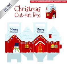 Christmas Snowy House Cut-Out Box - with ready to print templates! Check out all the boxes & download at @homelifeabroad.com #christmasgifts #christmasboxes #christmastemplates #christmasprintables #xmas #DIY #boxes #christmasDIY #christmascrafts