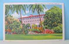 Vintage Hawaii Postcard Linen Ephemera Honolulu Army Navy Building Home Decor Travel Souvenir 1942 by ToucheVintage on Etsy