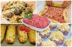 Mleté mäso sa dá pripraviť na veľa rôznych spôsobov a je veľmi obľúbené, aj cenovo dostupné. Dá sa povedať, že za relatívne málo peňazí, máte veľa muziky, pretože jedlá z mletého mäsa sú pestré, chutné a zasýtia celú rodinu. My sme pre vás vybrali 4 najlepšie recepty, vďaka ktorým vykúzlite jednoduchý a extrémne chutný obed. Ground Meat Recipes, Tzatziki, Tacos, Mexican, Ethnic Recipes, Food, Fitness, Basket, Recipes For Ground Beef