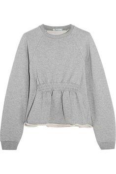 T by Alexander Wang   Cotton-terry peplum sweatshirt   NET-A-PORTER.COM