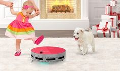 Robot vacuum and mop cleans hardwood floors, carpets, and tiles by automatically sweeping up and removing dog hair, cat fur, dirt, and dust
