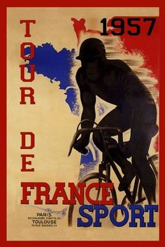 Tour de France Bicycle Bike 1957 Paris France Vintage Poster Repro FREE S/H…