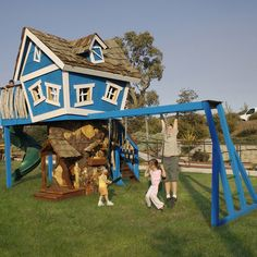 Playhouse/Swingset - I love the way the playhouse at the top looks like it's so haphazardly balanced...but with a closer look the other half of the playhouse is below.  This is so Do-able!