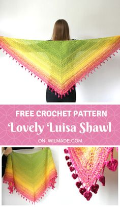 Lovely Luisa Shawl - find this free #crochet #triangle #shawl #pattern on wilmade.com - including a video and picture tutorial. Made with a #gradient #plied #yarn #cake #scheepjes #whirl
