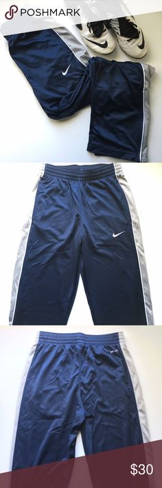 Nike // Mesh Basketball Sweatpants - navy Mesh basketball sweatpants from Nike. Navy legs with dark grey stripes down the sides with white piping. Loose fit, straight leg. Two hip pockets. Has been worn, in great condition. Nike Pants Sweatpants & Joggers