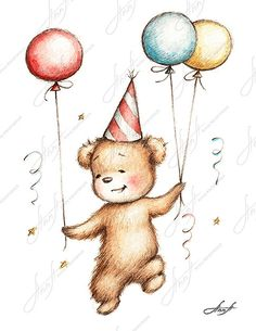 The drawing of teddy bear in birthday hat with by AnnaAbramskaya, $3.00