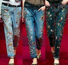 Moda Fashion, Denim Fashion, Fashion Outfits, Look Patches, Jean Outfits, Casual Outfits, 2015 Fashion Trends, Painted Jeans, Embellished Jeans