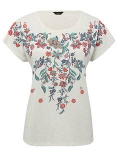 Floral embroidered short sleeve top