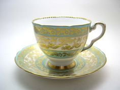 Antique Royal Stafford, Turquoise and Gold Tea Cup & Saucer, Royal Stafford Buckingham,English Fine Bone China.