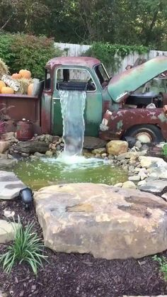 An old truck now used as a garden waterfall. via /r/woahdude ift…. An old truck now used as a garden waterfall. via /r/woahdude