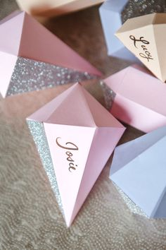 glitter gem place cards