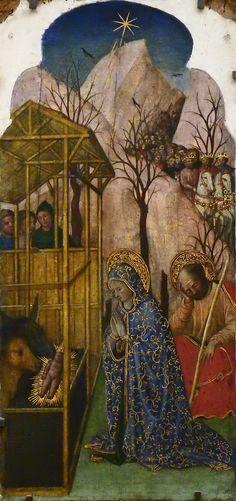 """GIOVANNI FRANCESCO DA RIMINI (Attribué),1440-50 - Vie de la Vierge, La Nativité (Louvre) - 0b  -  TAGS/ details détail détails painting paintings peintures """"peinture 15e"""" """"15th-century paintings"""" """"Moyen Âge"""" """"Middle age"""" Museum Paris France Italie Italy Italia Bible prière prayer Bless sacred holy blessed Virgin Jésus Jesus kid family famille """"St Joseph"""" """"da Rimini"""" baby bébé """"Italian paintings"""" """"peinture italienne"""" Rimini bois wood crèche étable """"Rois Mages"""" ox donkey âne nativity crib"""