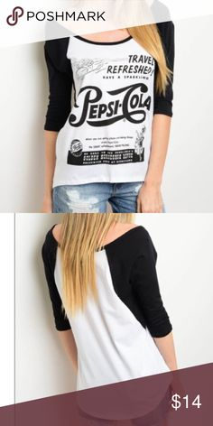 Cool Retro Pepsi Graphic Tee Graphic print top with 3/4 sleeves. Cool retro Pepsi graphic. 100% cotton. New Boutique item. Pepsi Cola Tops